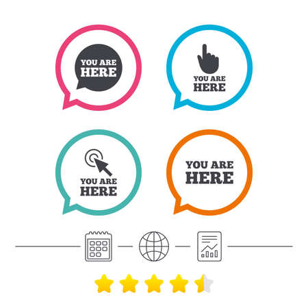 vote here: You are here icons. Info speech bubble symbol. Map pointer with your location sign. Hand cursor. Calendar, internet globe and report linear icons. Star vote ranking. Vector Illustration