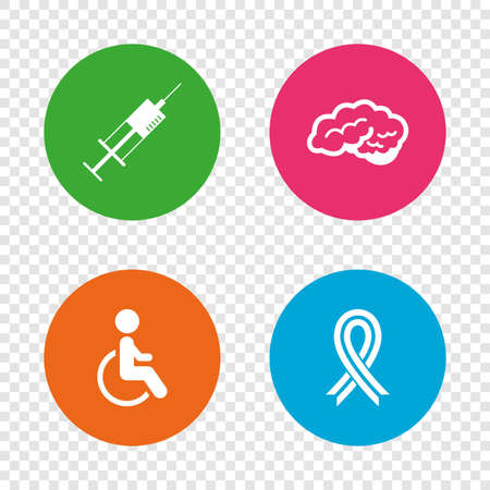Medicine icons. Syringe, disabled, brain and ribbon signs. Breast cancer awareness symbol. Handicapped invalid. Round buttons on transparent background. Vector