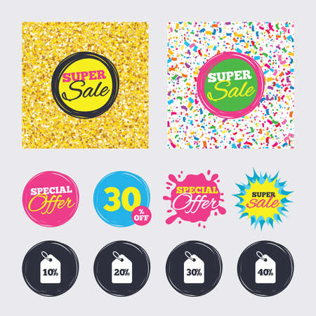 Gold glitter and confetti backgrounds. Covers, posters and flyers design. Sale price tag icons. Discount special offer symbols. 10%, 20%, 30% and 40% percent discount signs. Sale banners. Vector Illustration