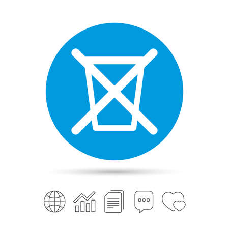 Do not throw in trash. Recycle bin sign icon. Copy files, chat speech bubble and chart web icons. Vector