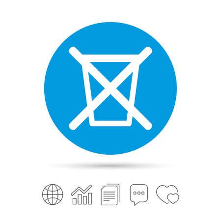 Werfen Sie nicht in Müll. Papierkorb Zeichen-Symbol. Kopieren von Dateien, Chat-Sprechblase und Chart-Web-Symbole. Vektor
