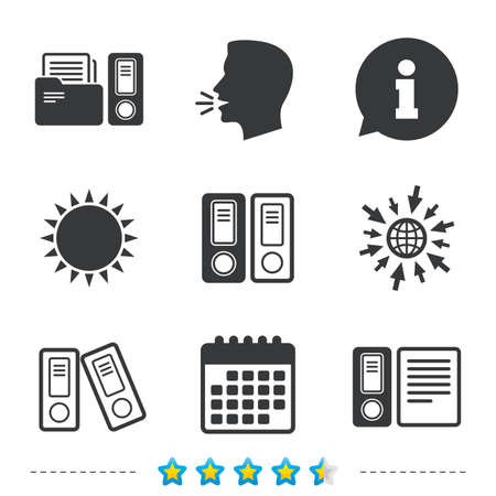 Accounting icons. Document storage in folders sign symbols. Information, go to web and calendar icons. Sun and loud speak symbol. Vector Vektorové ilustrace