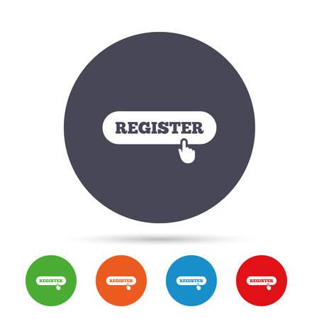 ハンド ポインター記号アイコンに登録します。会員記号です。ウェブサイトのナビゲーション。フラット アイコンと丸いカラフルなボタン。ベクト  イラスト・ベクター素材