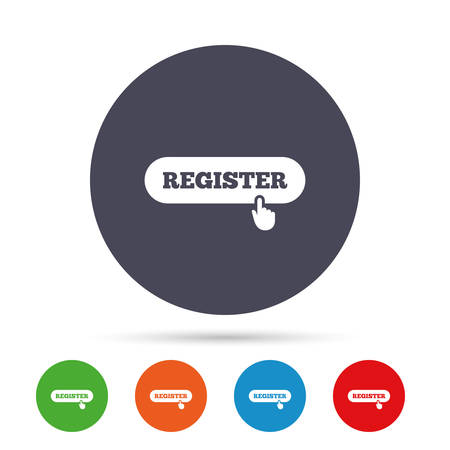 Register with hand pointer sign icon. Membership symbol. Website navigation. Round colourful buttons with flat icons. Vector