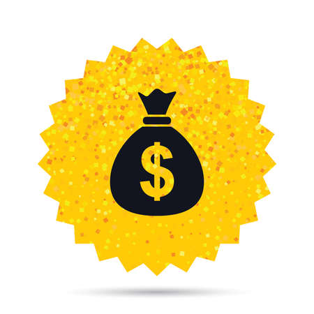 Gold glitter web button. Money bag sign icon. Dollar USD currency symbol. Rich glamour star design. Vector Illustration