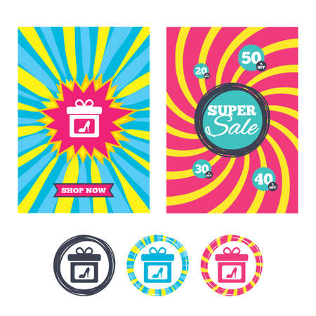 Sale banners and labels. Special offer tags. Gift box sign icon. Present with woman shoes symbol. Colored web buttons. Vector