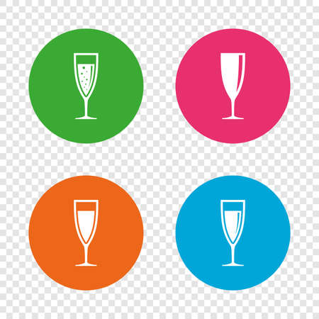 Champagne wine glasses icons. Alcohol drinks sign symbols. Sparkling wine with bubbles. Round buttons on transparent background. Vector