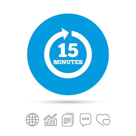 Every 15 minutes sign icon. Full rotation arrow symbol. Copy files, chat speech bubble and chart web icons. Vector