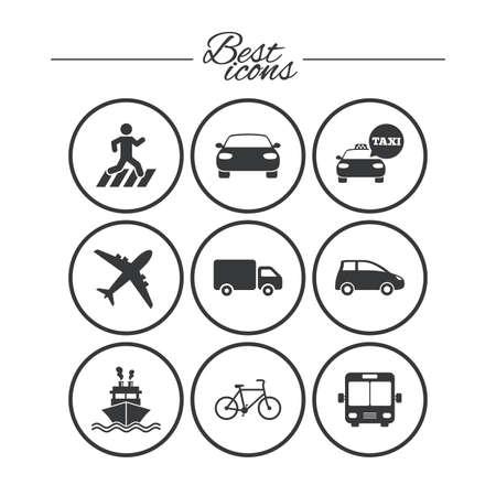 Iconos De Transporte Seales De Coches Bicicletas Autobuses Y