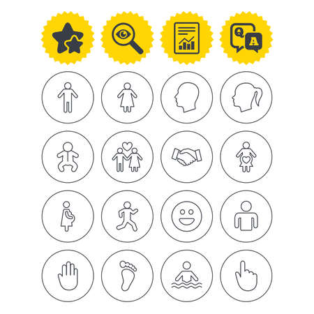 Report, best quality star and Q&A signs. Human icons. Male and female symbols. Infant toddler and pregnant woman. Happy smile face. Success deal handshake. Investigate symbol. Flat buttons. Vector