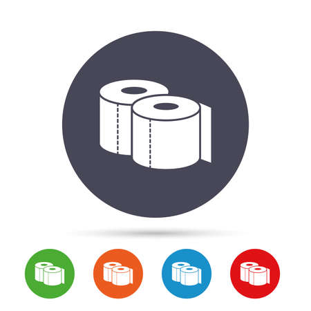 Toilet papers sign icon. WC roll symbol. Round colourful buttons with flat icons. Vector Illustration