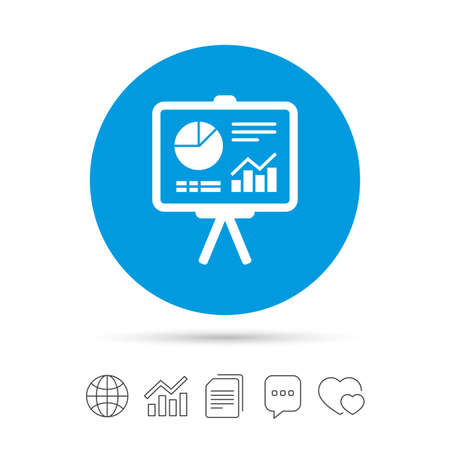 ppt: Presentation billboard sign icon. Scheme and Diagram symbol. Copy files, chat speech bubble and chart web icons. Vector
