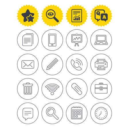 Report, best quality star and Q&A signs. Office equipment icons. Computer, printer and smartphone. Wi-fi, chat speech bubble and copy documents. Vector