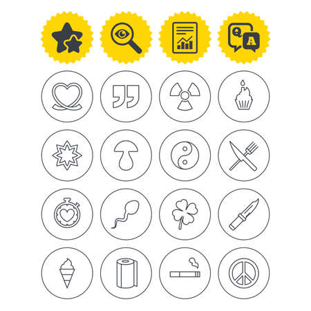 Report, best quality star and Q&A signs. Universal icons. Quotes, ribbon heart and cake. Clover, mushroom and ice cream. Smoking, knife and fork. Investigate symbol. Flat buttons. Vector