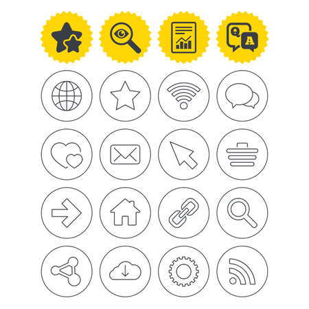 Report, best quality star and Q&A signs. Internet and Web icons. Wi-fi network, favorite star and internet globe. Hearts, shopping cart and speech bubbles. Share, rss and link symbols. Vector Illustration