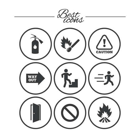 Fire Safety Emergency Icons Fire Extinguisher Exit And Attention