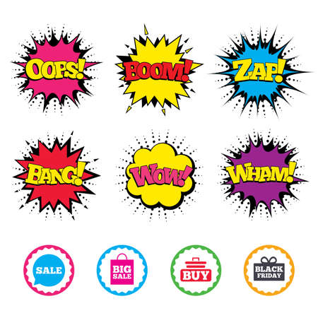 sound box: Comic Wow, Oops, Boom and Wham sound effects. Sale speech bubble icons. Buy cart symbols. Black friday gift box signs. Big sale shopping bag. Zap speech bubbles in pop art. Vector