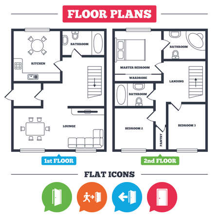 Architecture plan with furniture. House floor plan. Doors icons. Emergency exit with human figure and arrow symbols. Fire exit signs. Kitchen, lounge and bathroom. Vector