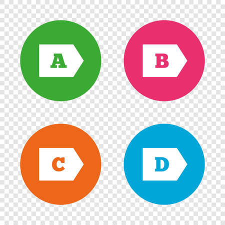 Energy efficiency class icons. Energy consumption sign symbols. Class A, B, C and D. Round buttons on transparent background. Vector