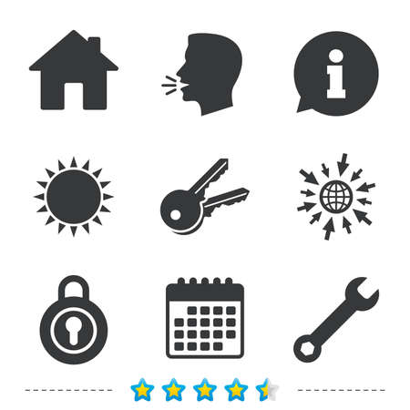 llave de sol: Home key icon. Wrench service tool symbol. Locker sign. Main page web navigation. Information, go to web and calendar icons. Sun and loud speak symbol. Vector