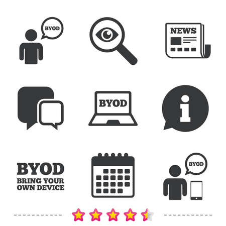 BYOD icons. Human with notebook and smartphone signs. Speech bubble symbol. Newspaper, information and calendar icons. Investigate magnifier, chat symbol. Vector