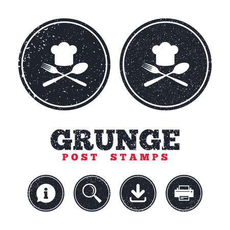 grunge flatware: Grunge post stamps. Chef hat sign icon. Cooking symbol. Cooks hat with fork and spoon. Information, download and printer signs. Aged texture web buttons. Vector