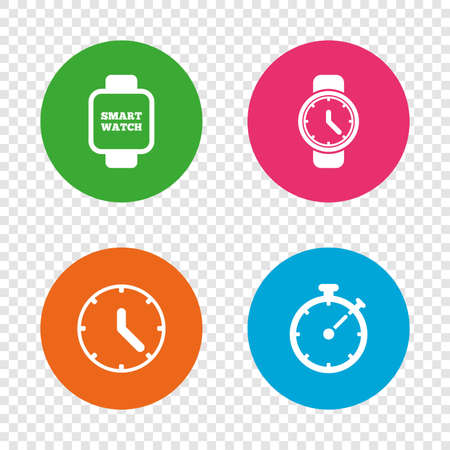 Smart watch icons. Mechanical clock time, Stopwatch timer symbols. Wrist digital watch sign. Round buttons on transparent background. Vector Illustration