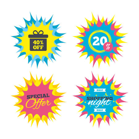 Shopping offers, special offer banners. 40% sale gift box tag sign icon. Discount symbol. Special offer label. Discount star label. Vector Illustration
