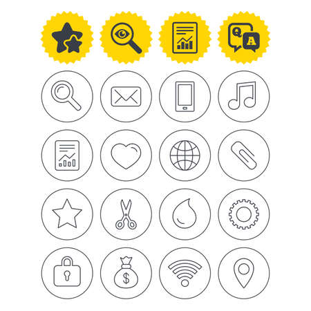 Report, best quality star and Q&A signs. Universal icons. Smartphone, mail and musical note. Heart, globe and share symbols. Paperclip, scissors and water drop. Investigate symbol. Flat buttons
