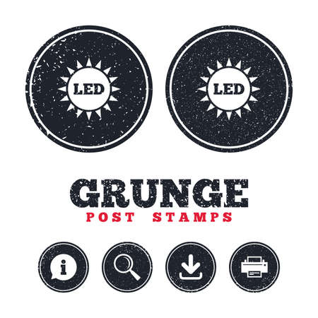 Grunge post stamps. Led light sun icon. Energy symbol. Information, download and printer signs. Aged texture web buttons. Vector Illustration