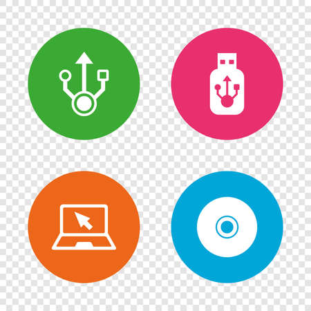 Usb flash drive icons. Notebook or Laptop pc symbols. CD or DVD sign. Compact disc. Round buttons on transparent background. Vector
