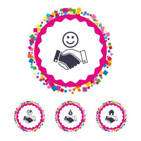 紙吹雪部分と web ボタンです。ハンドシェイクのアイコン。世界、笑顔の幸せそうな顔、家の建物のシンボル。ドル現金お金の袋。友好的な合意。明  イラスト・ベクター素材