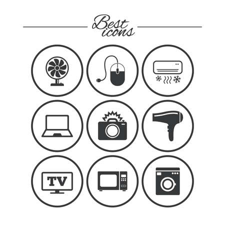 Home appliances, device icons. Electronics signs. Air conditioning, washing machine and ventilator symbols. Classic simple flat icons. Vector