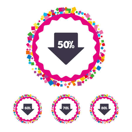 reductions: Web buttons with confetti pieces. Sale arrow tag icons. Discount special offer symbols. 50%, 60%, 70% and 80% percent discount signs. Bright stylish design. Vector