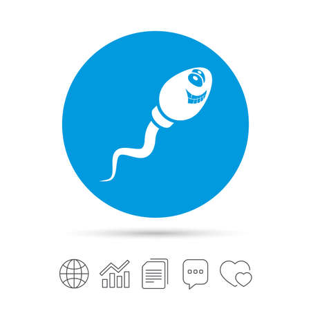Sperma-Zeichen-Symbol. Symbol für Befruchtung oder Befruchtung. Mit einem smileygesicht. Kopieren Sie Dateien, Chat-Sprechblasen und Diagrammnetzikonen. Vektor