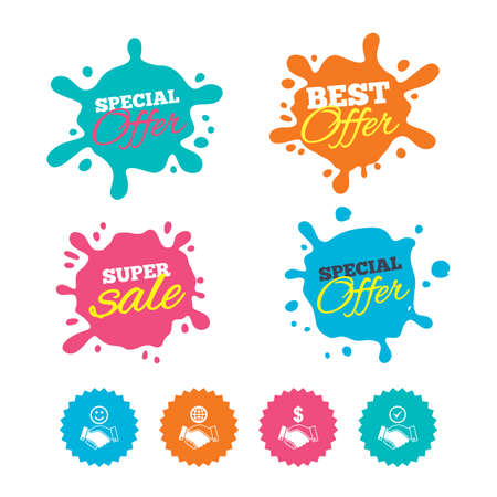 Best offer and sale splash banners. Handshake icons. World, Smile happy face and house building symbol. Dollar cash money. Amicable agreement. Web shopping labels. Vector Illustration