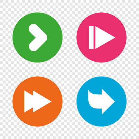 background next: Arrow icons. Next navigation arrowhead signs. Direction symbols. Round buttons on transparent background. Vector