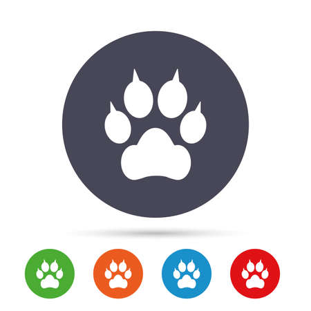 Dog paw with clutches sign icon. Pets symbol. Round colourful buttons with flat icons. Vector