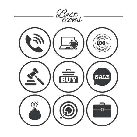 e auction: Online shopping, e-commerce and business icons. Auction, phone call and sale signs. Cash money, case and target symbols. Classic simple flat icons. Vector