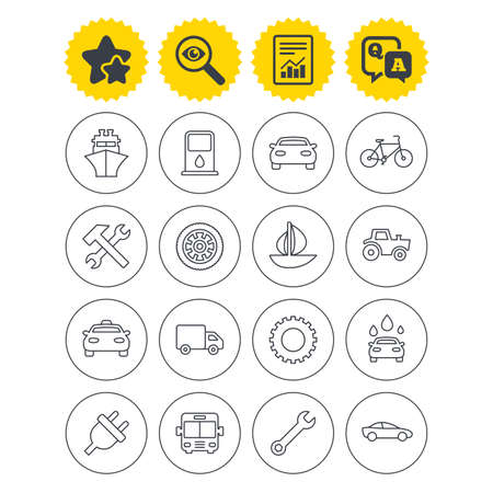Report, best quality star and Q&A signs. Transport and services icons. Ship, car and public bus, taxi. Repair hammer and wrench key, wheel and cogwheel. Sailboat and bicycle. Investigate symbol Illustration
