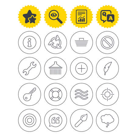 Report, best quality star and Q&A signs. Universal icons. Information, shopping basket and shower. Repair tool, home key and brush. Comic speech bubble, target aim and quotes. Investigate symbol Illustration