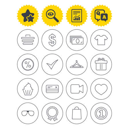 Report, best quality star and Q&A signs. Shopping icons. Shopping cart, dollar currency and cash money. Shirt clothes, gift box and hanger. Credit or debit card. Investigate symbol. Flat buttons Illustration