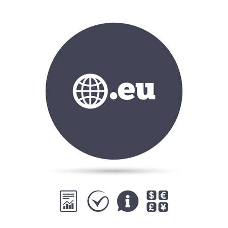 domains: Domain EU sign icon. Top-level internet domain symbol with globe. Report document, information and check tick icons. Currency exchange. Vector Illustration