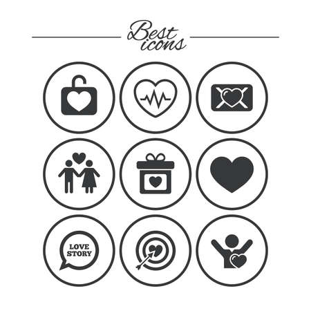 oath: Love, valentine day icons. Target with heart, oath letter and locker symbols. Couple lovers, heartbeat signs. Classic simple flat icons. Vector Illustration