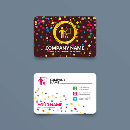business card template with confetti pieces presentation sign