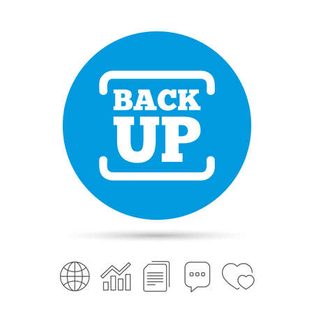 chat up: Backup date sign icon. Storage symbol with arrow. Copy files, chat speech bubble and chart web icons. Vector