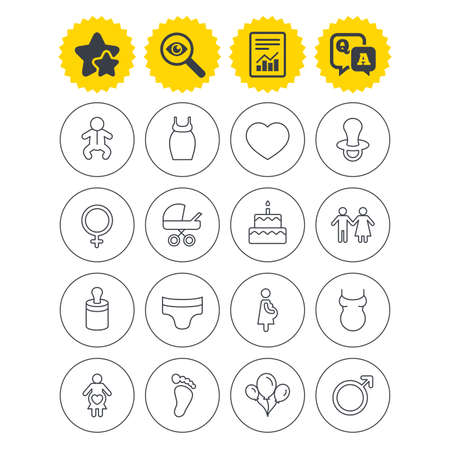 Report, best quality star and Q&A signs. Baby and Maternity icons. Toddler, diapers and child footprint symbols. Heart, birthday cake and pacifier thin outline signs. Vector Illustration
