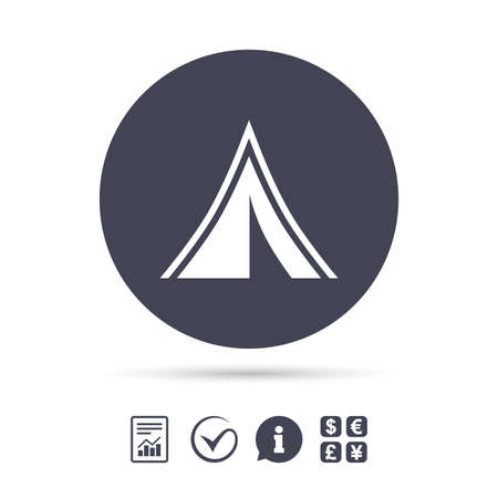Tourist tent sign icon. Camping symbol. Report document, information and check tick icons. Currency exchange. Vector
