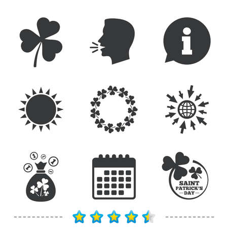 clover buttons: Saint Patrick day icons. Money bag with clover sign. Wreath of trefoil shamrock clovers. Symbol of good luck. Information, go to web and calendar icons. Sun and loud speak symbol. Vector