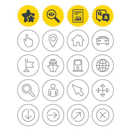 Report, best quality star and Q&A signs. GPS navigation icons. Car and Ship transport. You are here, map pointer symbols. Search gas or petrol stations, hotels. Investigate symbol. Flat buttons